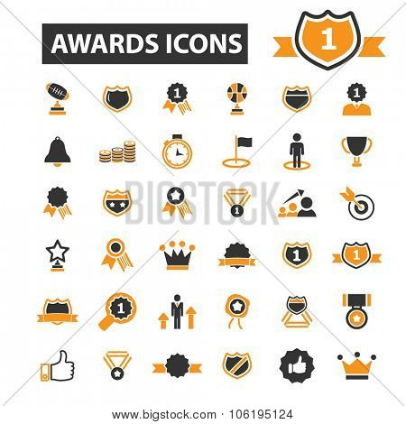 awards, trophy, prize icon & sign concept vector set for infographics, website