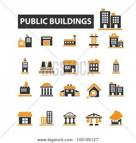 public, commercial, city, urban, administrative houses, buildings icon & sign concept vector set for infographics, website