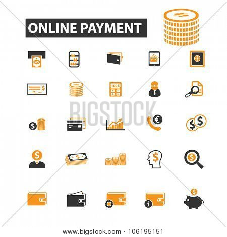 online payment, money, cash, coins icon & sign concept vector set for infographics, website