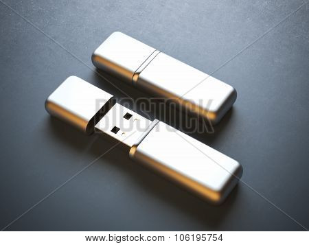Opened and closed flash drives