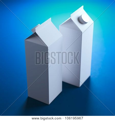 Two white empty cardboard juice  packaging