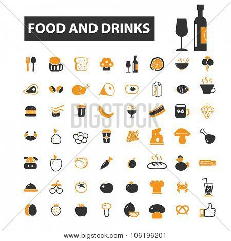 food, drinks, restaurant, menu icon & sign concept vector set for infographics, website