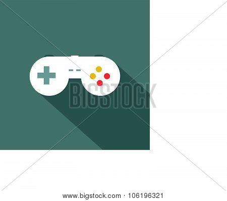 Joystickicon , Flat Design Style, Vector Illustration. Long Shadow Icon.