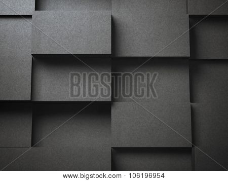 Various stacks of black blank  business cards
