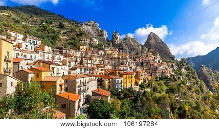 impressive village in mountains Castelmezzano, Basilicata. Italy