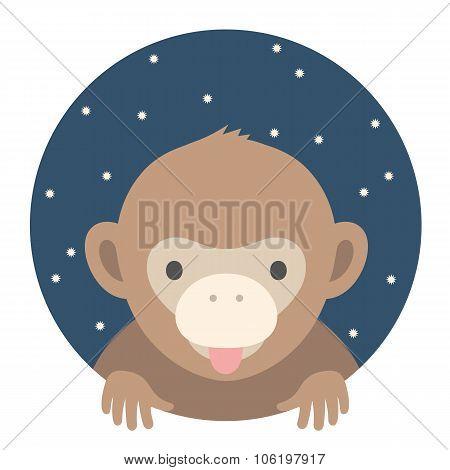 Animal set. Portrait in flat graphics - Monkey. Vector illustration.