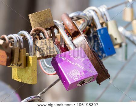 Love padlocks at the Brooklyn Bridge in New York City