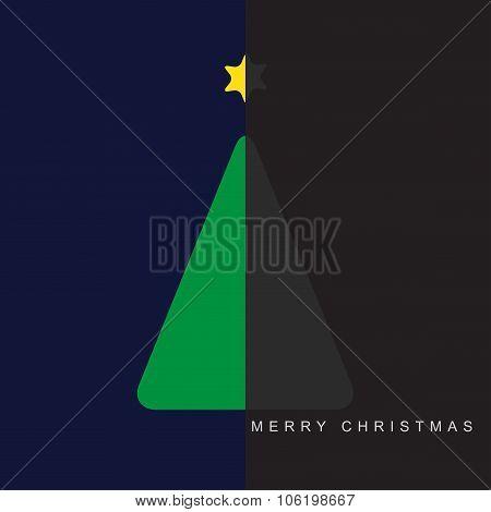 Greeting Card - Christmas Halved Green Tree