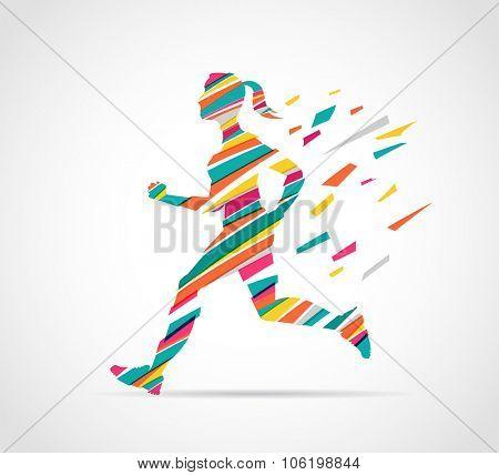 woman running, jogging - colorful illustration