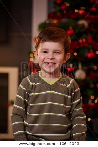 Happy Little Boy At Christmas