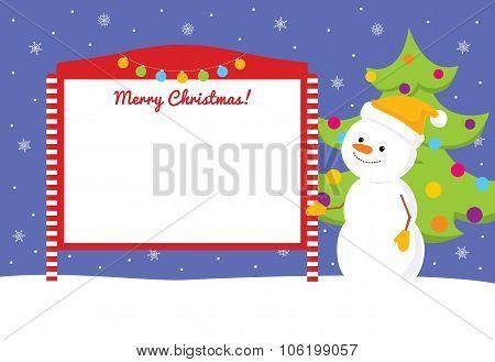 Snowman Near Street Notice Board