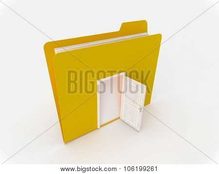 Yellow Folder With A White Door Open