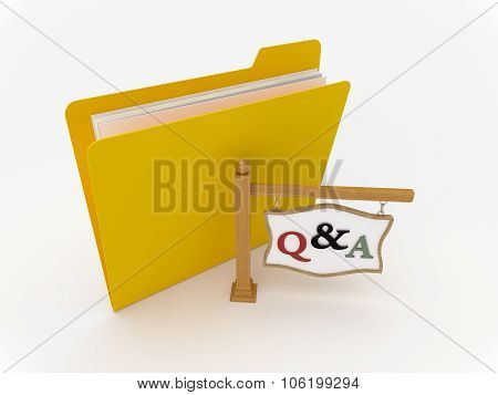 Yellow Folder With Wooden Signpost For Question And Answer
