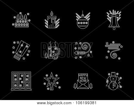 White line X-mas vector icons set