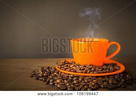 Coffee In Orange Cup