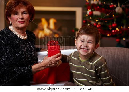 Grandmother And Grandchild Holding Gift