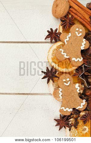 Christmas baking side border against white wood
