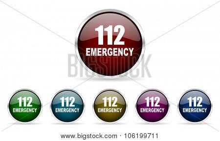 number emergency 112 colorful glossy circle web icons set