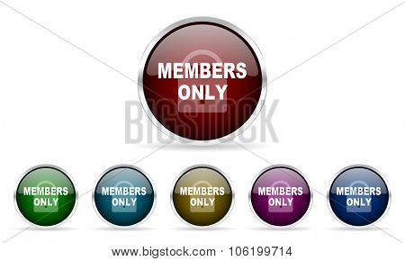 members only colorful glossy circle web icons set