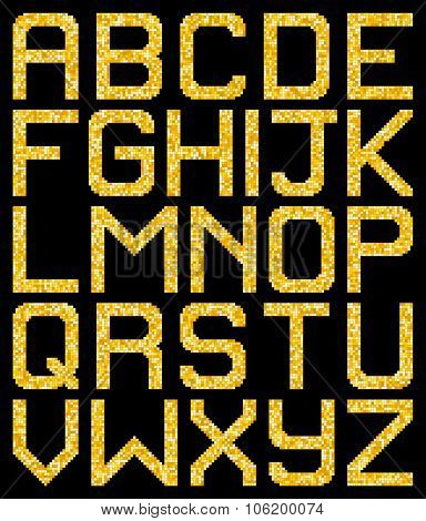 Pixel Gold Glitter A-z Letters. Eps8 Vector