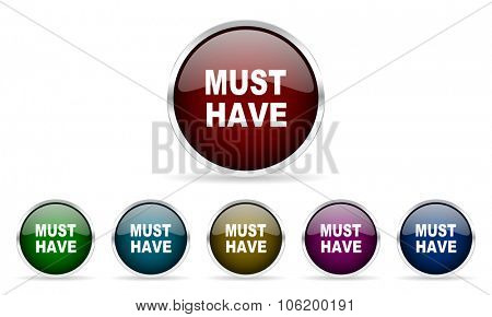 must have colorful glossy circle web icons set