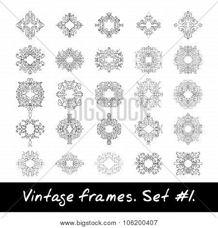 Set of round frames. Nine decorative elements for logo design with stripes braiding borders.
