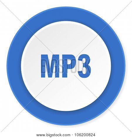 mp3 blue circle 3d modern design flat icon on white background