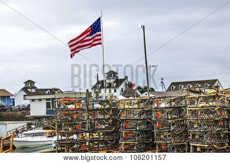 Maritime Museum Flag Crab Pots Westport Grays Harbor Washington State