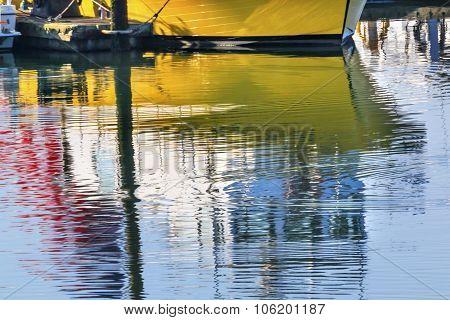 Yellow Sailboat Reflection Westport Grays Harbor Washington State