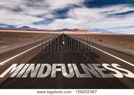 Mindfulness written on desert road