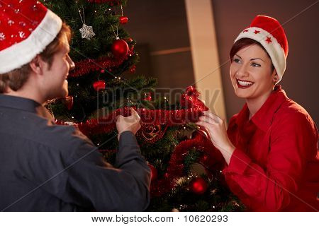 Happy Couple Celebrating Christmas