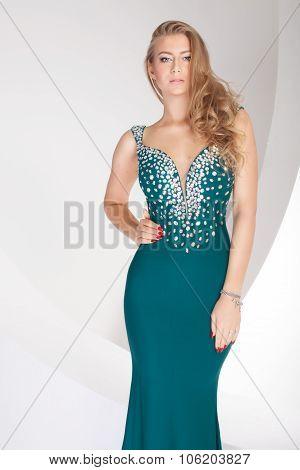 Elegant Woman In Evening Dress.