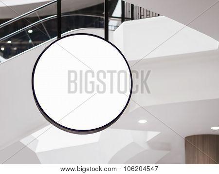 Mock Up Signage Circle Shape Restaurant Business