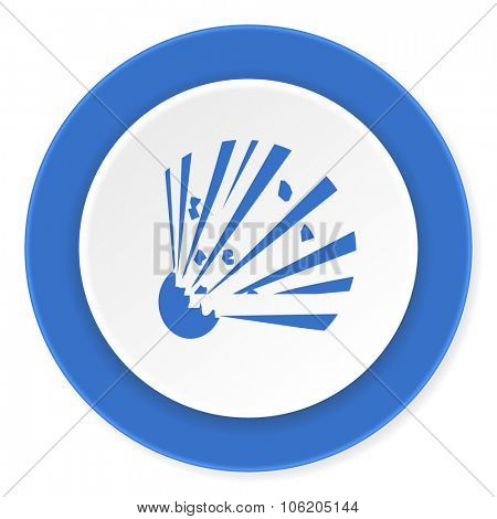bomb blue circle 3d modern design flat icon on white background