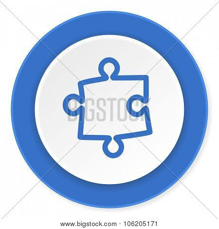 puzzle blue circle 3d modern design flat icon on white background