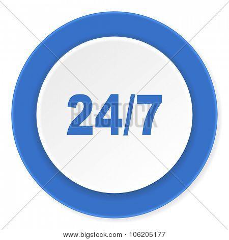 24/7 blue circle 3d modern design flat icon on white background