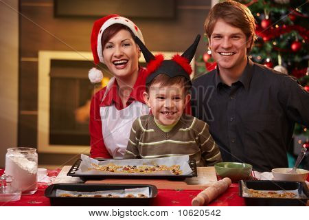 Christmas Portrait Of Happy Family