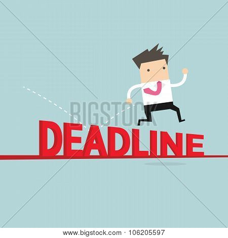 Businessman jump over deadline