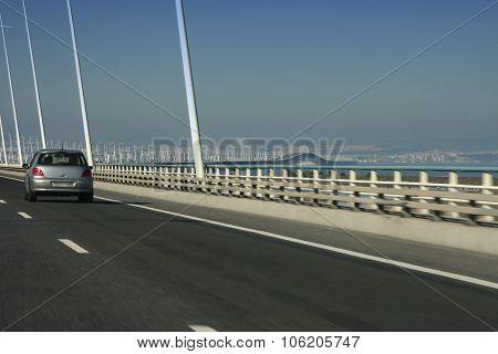 Driving Along Car The Vasco Da Gama Bridge
