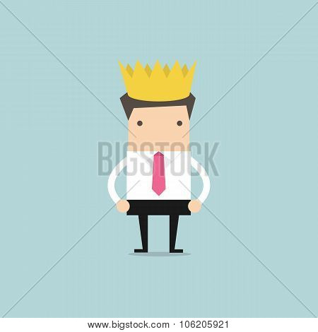 Businessman wearing a crown