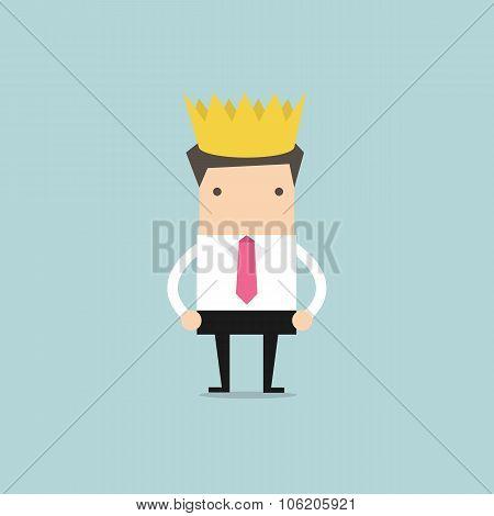 Businessman wearing a crown