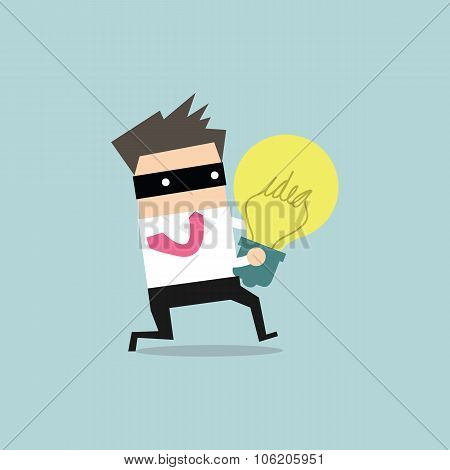 Thief stealing idea businessman