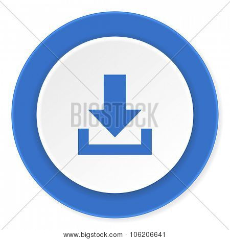 download blue circle 3d modern design flat icon on white background