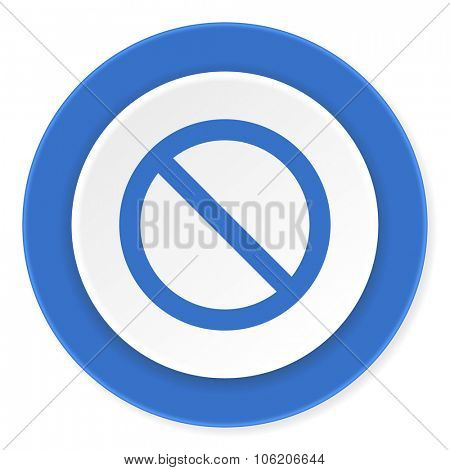 access denied blue circle 3d modern design flat icon on white background