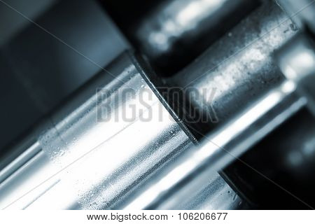 Shiny Polished Shaft. Fragment Of The Machine