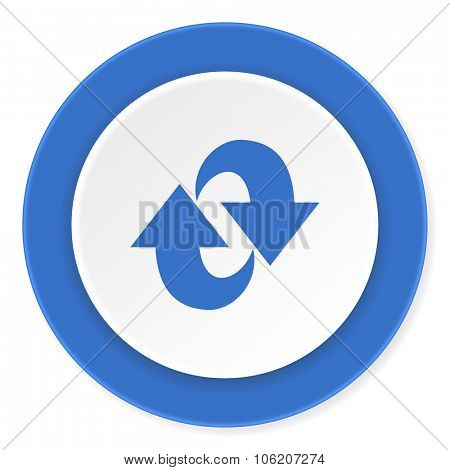 rotation blue circle 3d modern design flat icon on white background