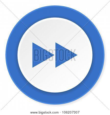 rewind blue circle 3d modern design flat icon on white background