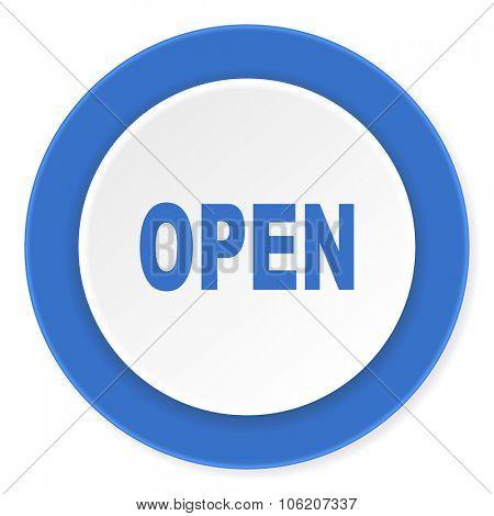 open blue circle 3d modern design flat icon on white background