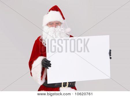 Santa Holding Blank White Board