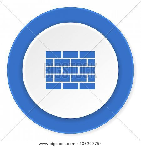 firewall blue circle 3d modern design flat icon on white background